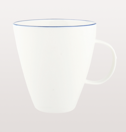 Canvas home, white porcelain mug with blue hand painted rim for dining and entertaining dinnerware