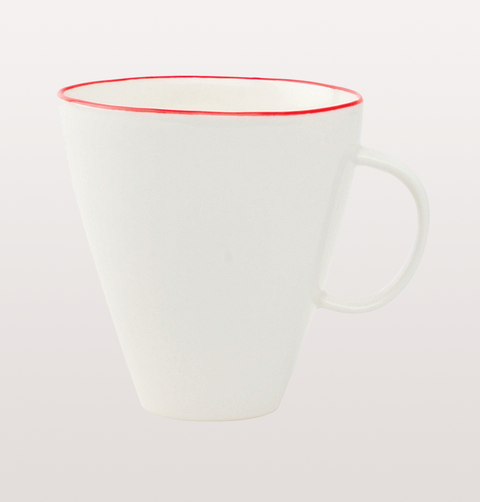 Canvas home, white porcelain mug with red hand painted rim for dining and entertaining dinnerware
