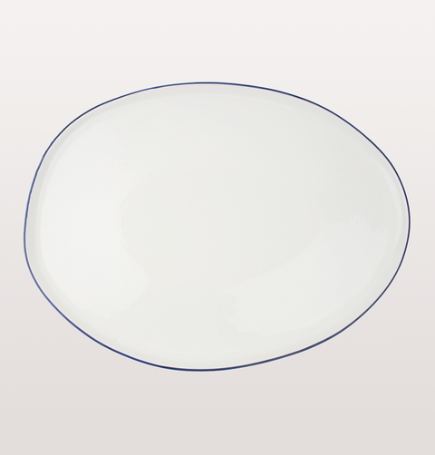 Canvas home, large platter white porcelain, Hand painted with blue rim for fine dining or casual dinnerware