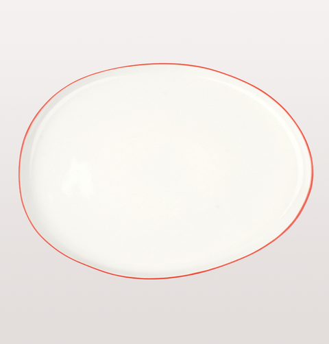 Canvas home, large platter white porcelain, Hand painted with red rim for fine dining or casual dinnerware