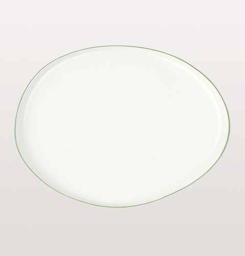 Canvas home, small platter white porcelain, Hand painted with green rim for fine dining or casual dinnerware