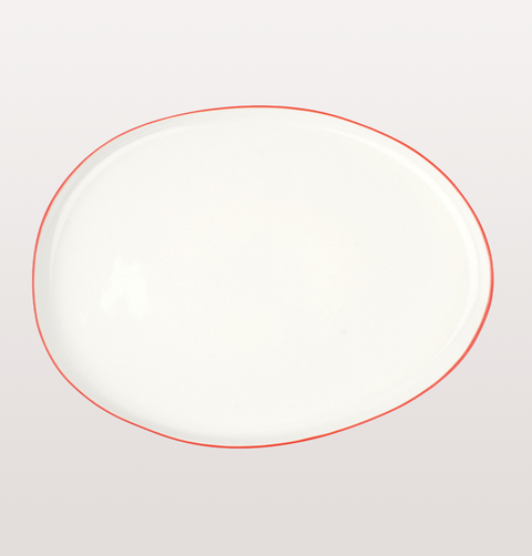 Canvas home, small platter white porcelain, Hand painted with red rim for fine dining or casual dinnerware