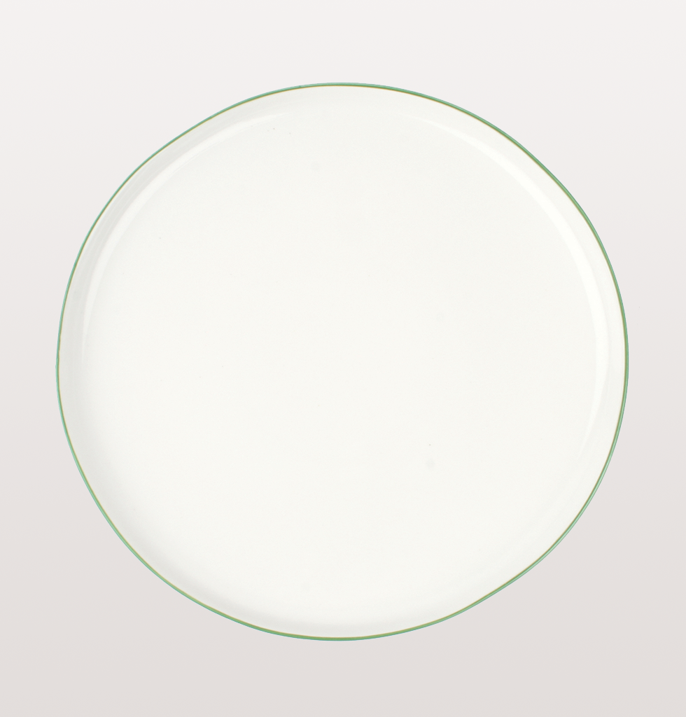 Canvas home, Abbesses dinnerware. White porcelain China dinner plate with hand painted green rim for fine dining/ casual dinner parties