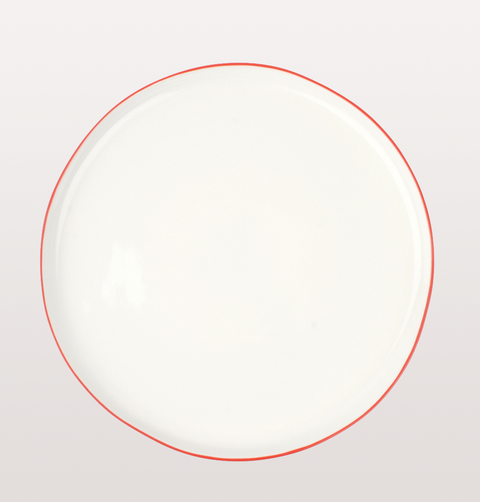 Canvas home, Abbesses dinnerware. White porcelain China dinner plate with hand painted red rim for fine dining/ casual dinner parties
