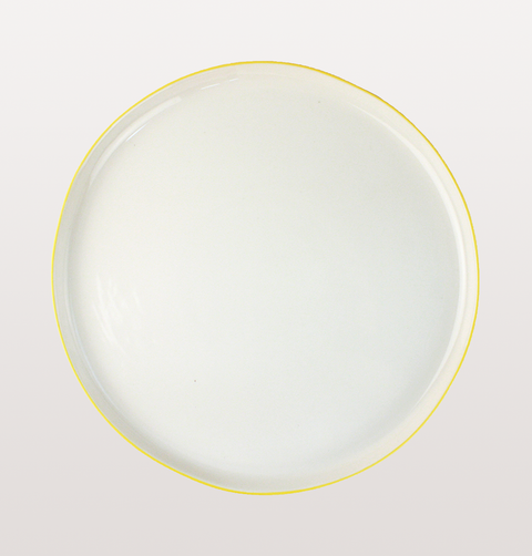 Canvas home, Abbesses dinnerware. White porcelain China large plate with hand painted yellow rim for fine dining/ casual dinner parties