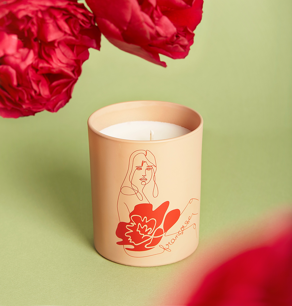 Françoise luxury wood scented pink and red candle by Label Bougie