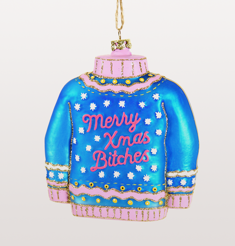 XMAS BITCHES GLITTER JUMPER CHRISTMAS DECORATION
