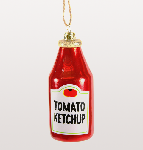 TOMATO KETCHUP NEON RED GLASS CHRISTMAS DECORATION