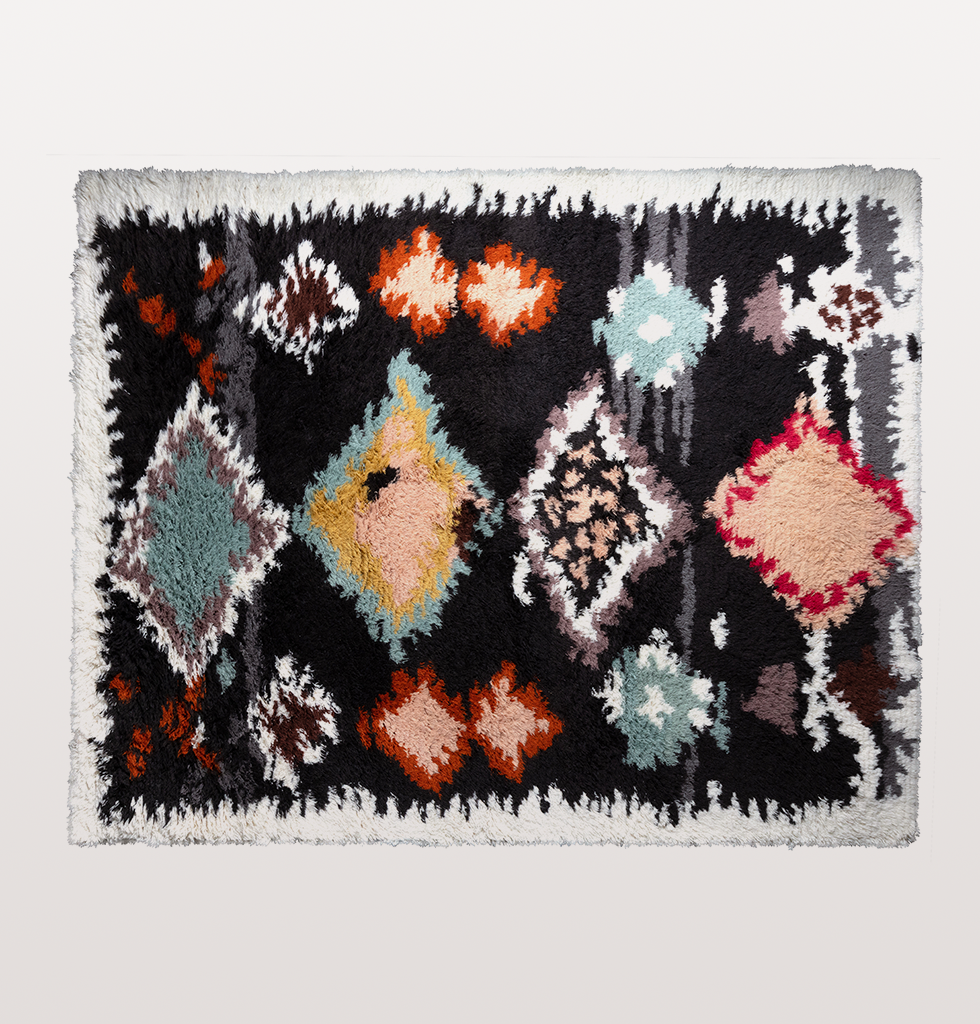 Black multi coloured beni ourain berber rug 200 x 250cm