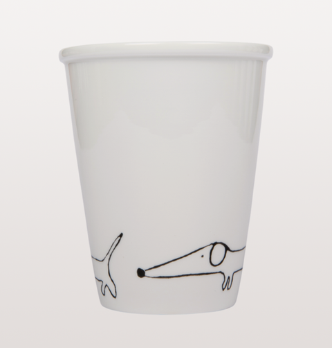 dachshund toy dog cup by Helen B