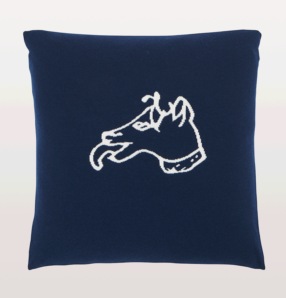 Navy blue Bella Freud Dog motif cashmere cushion