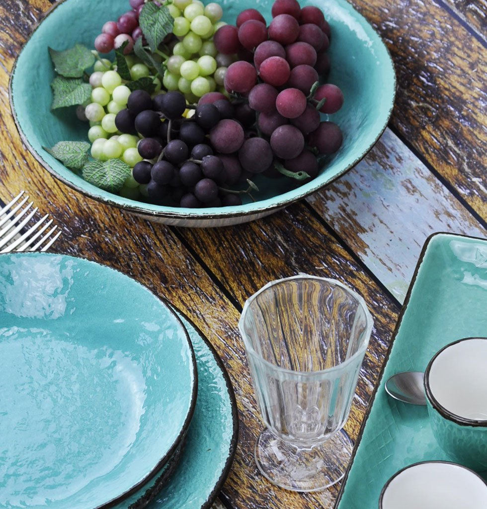 W.A.GREEN | TURQUOISE GREEN AQUARE MARINE MAJOLICA TABLEWARE SET | SERVING BOWLS