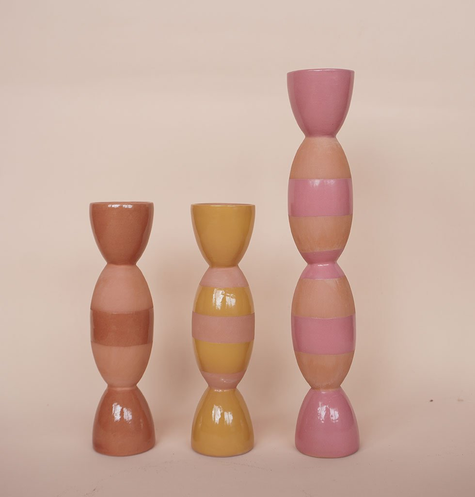 Tina Vaia coloured ceramic candleholders. wagreen.co.uk