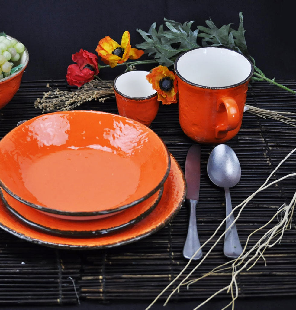 W.A.GREEN | ORANGE BRIGHT PRETA MAJOLICA TABLEWARE SET | PERFECT MUG. £12 wagreen.co.uk
