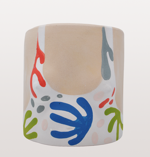 LIGHT MATISSE CUT OUT GIRL PLANT POT