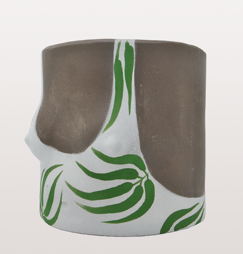 DARK LEAVES SWIMSUIT GIRL PLANT POT