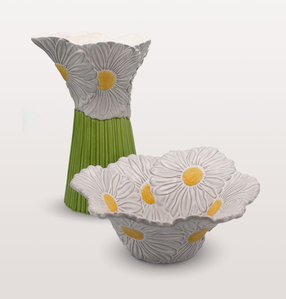 Maria Flor daisy salad bowl and daisy pitcher. Hand made by Bordallo Pinheiro. wagreen.co.uk
