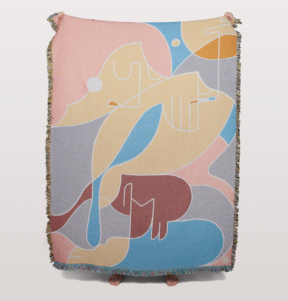 Slowdown Studio illustrated art Dalton Throw  by Amsterdam-based Australian artist Steve Bachmayer.  A woven cotton blanket that is great for the home. Use for chic picnics, as a unique gift, or to hang on the wall as art.