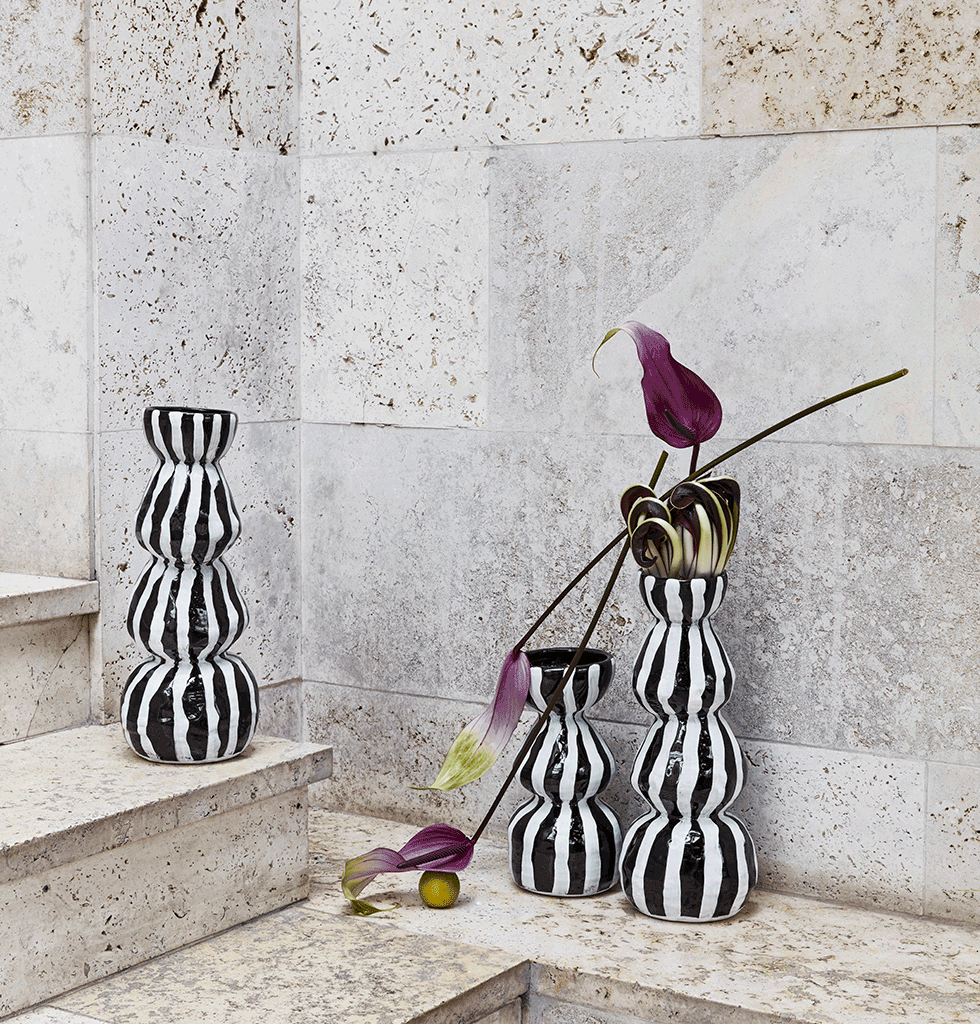 Black and white floor vases by Day Birger et Mikkelsen