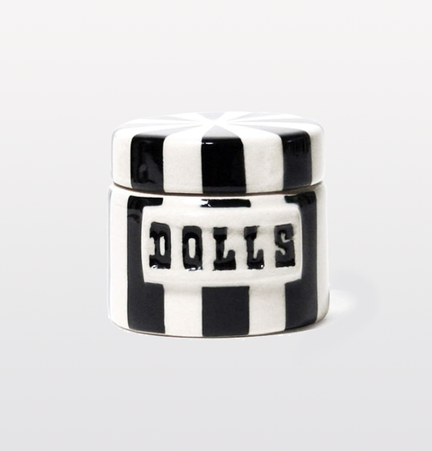 dolls small black and white vice jar cannister by jonathan adler