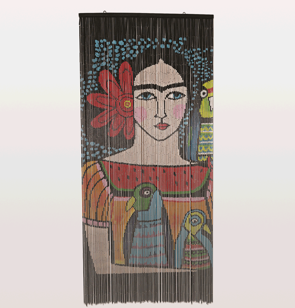 FRIDA KAHLO WITH BIRDS BLACK DOOR CURTAIN