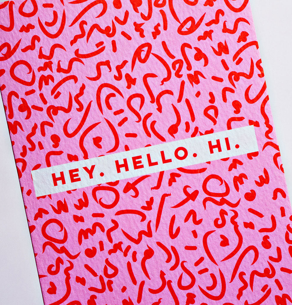 80s HEY HELLO HI CARD