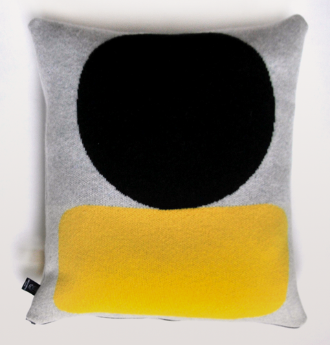 ELLSWORTH CUSHION YELLOW & GREY LARGE