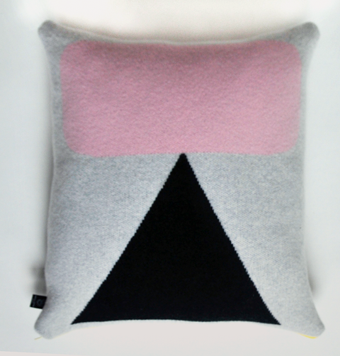 GIANNINA CAPITANI, knitted cushion. pink square, black triangle print. Made in Britain, lambswool, merino wool, duck feather pillow