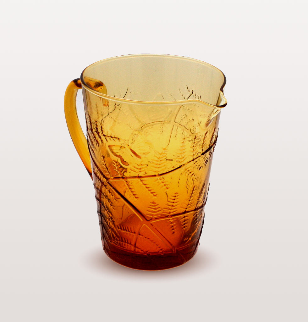 The Eden Glass Jug is made in clear yellow amber glass. The summer inspired pitcher jug is decorated with relieved glass drawings of fern leaves, butterflies and dragonflies.  Made in Portugal, the Casa Alegre collection by historic Vista Alegre have been renowned glass makers since 1824. £75 wagreen.co.uk