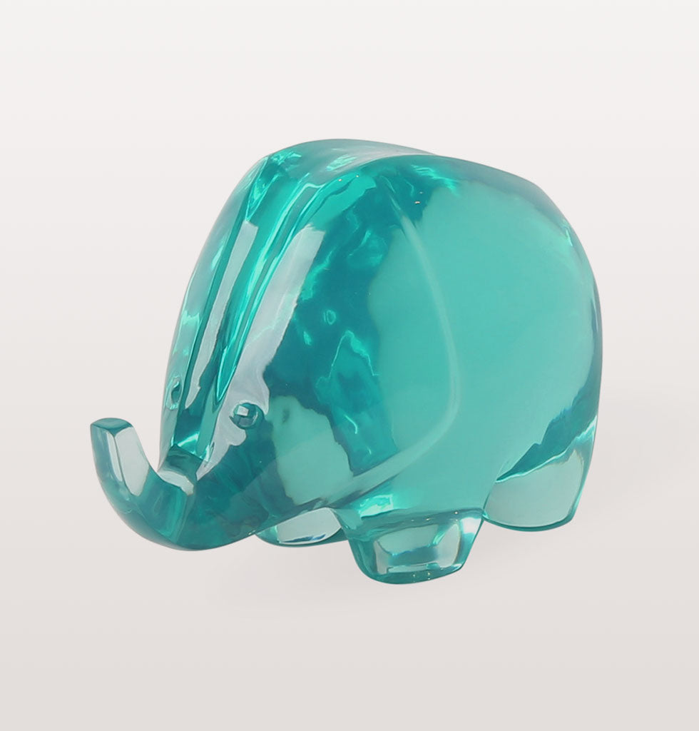 Front view. large acrylic green elephant sculpture by Jonathan Adler. Jungle lucite celedon green elephant