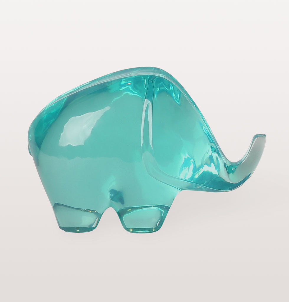 Side view. large acrylic green elephant sculpture by Jonathan Adler. Jungle lucite celedon green elephant