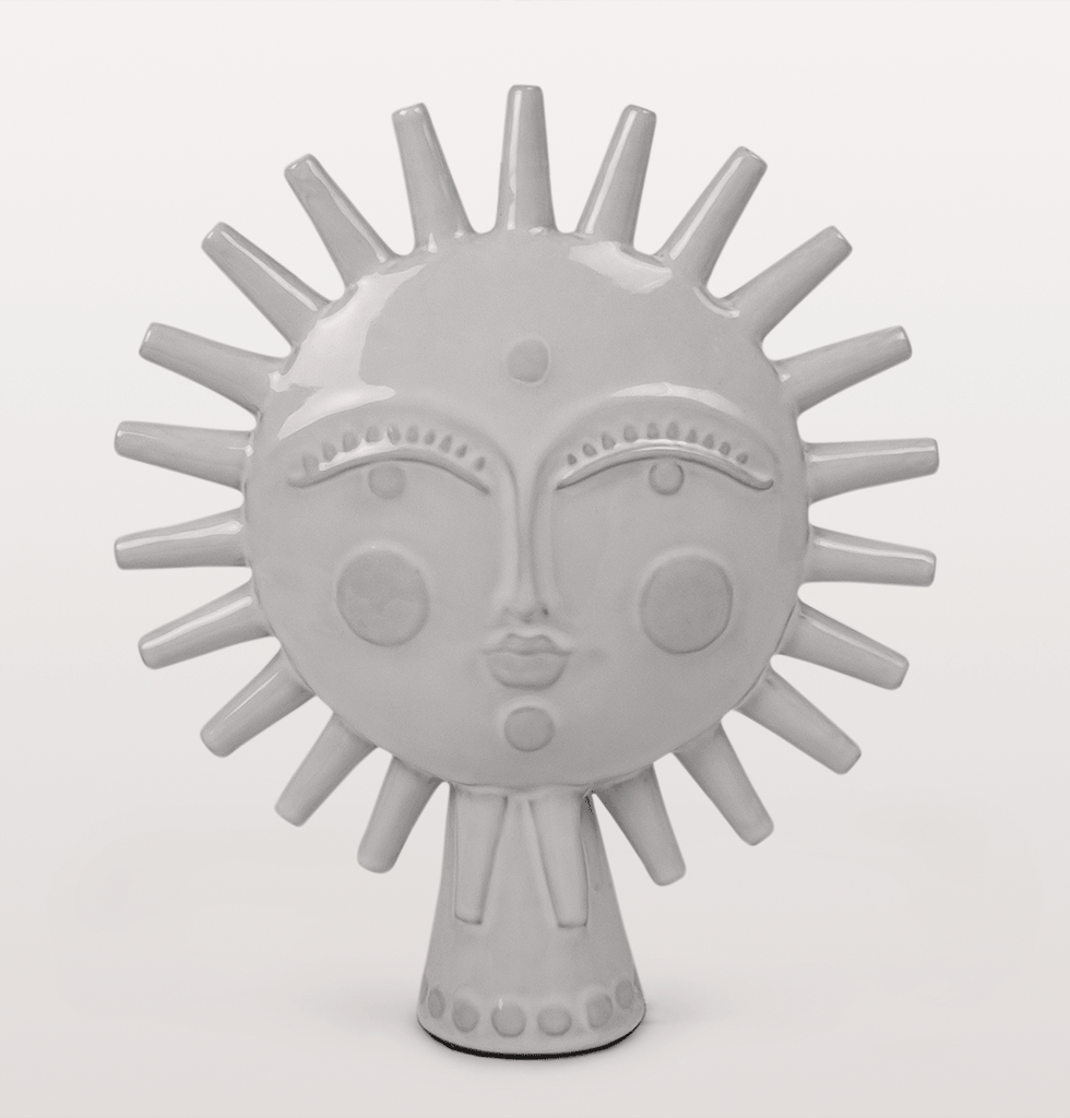 Jonathan Adler rare utopia sun statue in white grey glazed ceramic