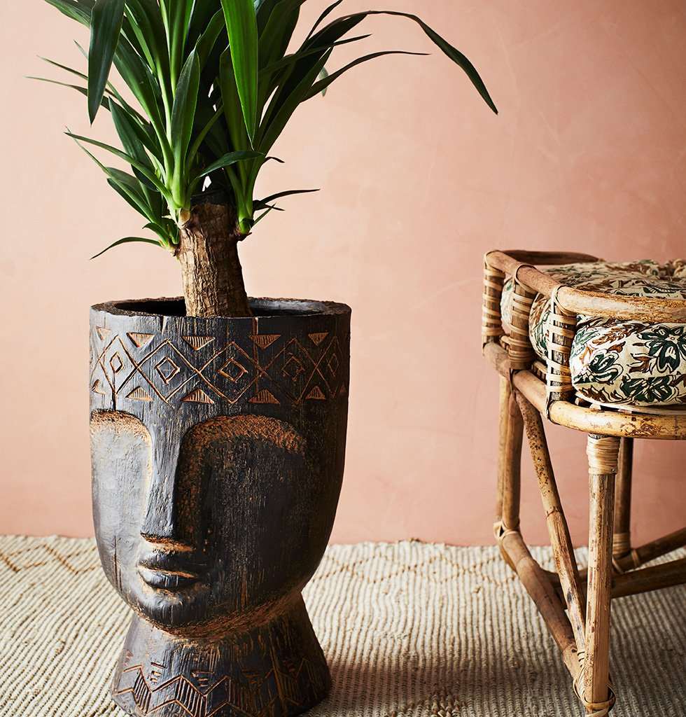 EXTRA LARGE CARVED FACE PLANT POT