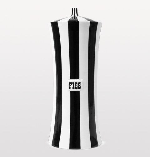 Fibs black and white vice tall jar by jonathan adler