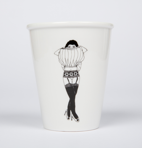 Strip tease garter girl cup from Helen B girl with skirt over her face showing her stockings