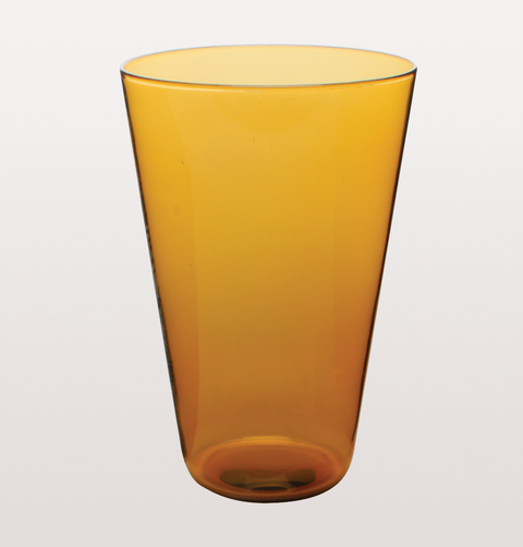 LARGE AMBER EAU MINERALE GLASS