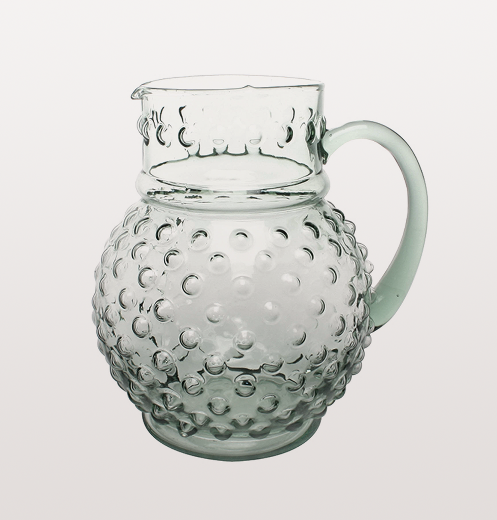 large green dimpled water jug or flower vase with handle