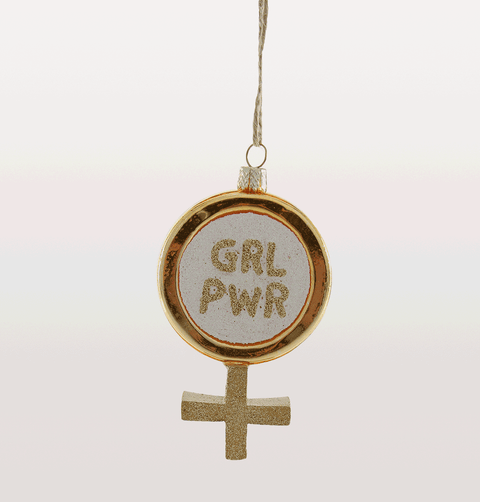 FEMINIST GIRL PWR POWER SYMBOL CHRISTMAS DECORATION