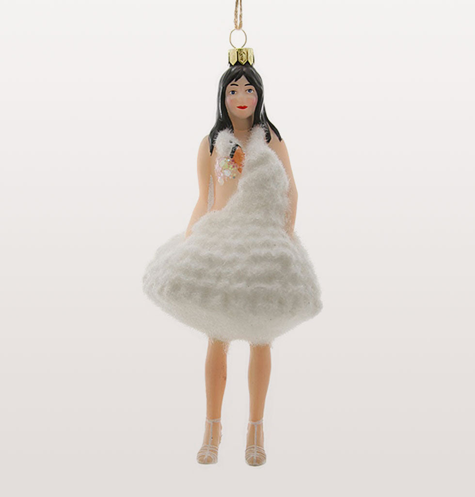 Fashionistas and trailblazers will adore this Bjork swan dress tribute decoration remembering her iconic outfit from  the 2001 Academy Awards. Bjork in white swan dress decoration.