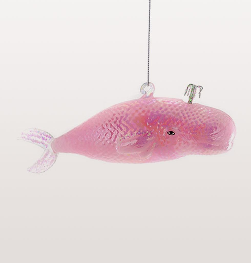 "Whale watchers and wildlife lovers will have a whale of a time this Christmas with this iridescent pink giant of the sea.  Animal magic in shimmery pink for your festive tree.  W.A.Green says, ""The silver glittery blow hole on this pretty pink whale is mesmerising"""