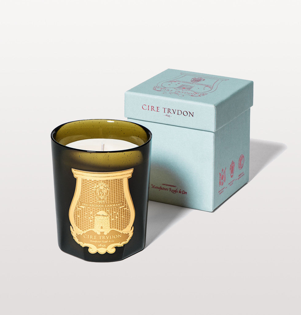 Bartolome scented candle Cire Trudon luxury fragrance with hints patchouli, sandlewood, orange