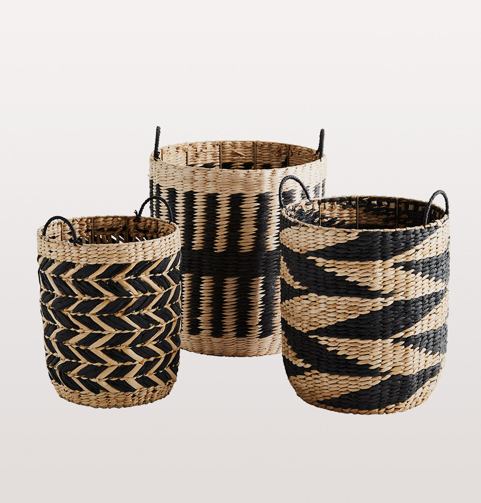 Grass wicker baskets with handles. Black and natural design set of 3 strong baskets.