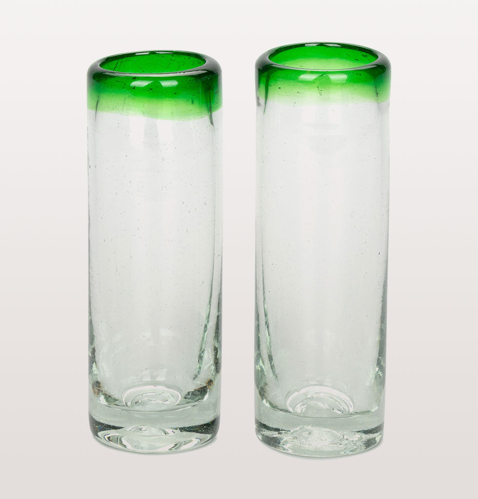 Green rim tequila shot glass. Mexican recycled glass. Pair of shot glasses, arriba