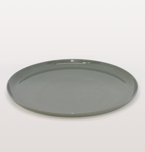 IST London, main plate grey Limoges porcelain tableware, handmade slip cast plate dinnerware