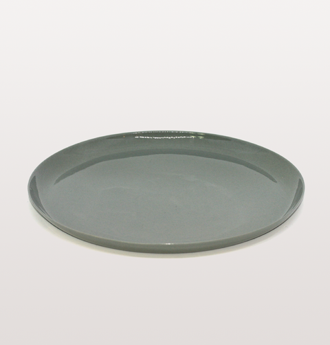 IST London, starter plate grey Limoges porcelain tableware, handmade slip cast plate dinnerware