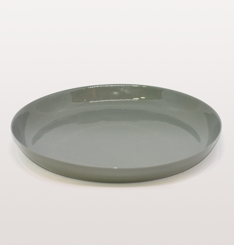 IST London, serving dish grey Limoges porcelain tableware, handmade slip cast plate dinnerware