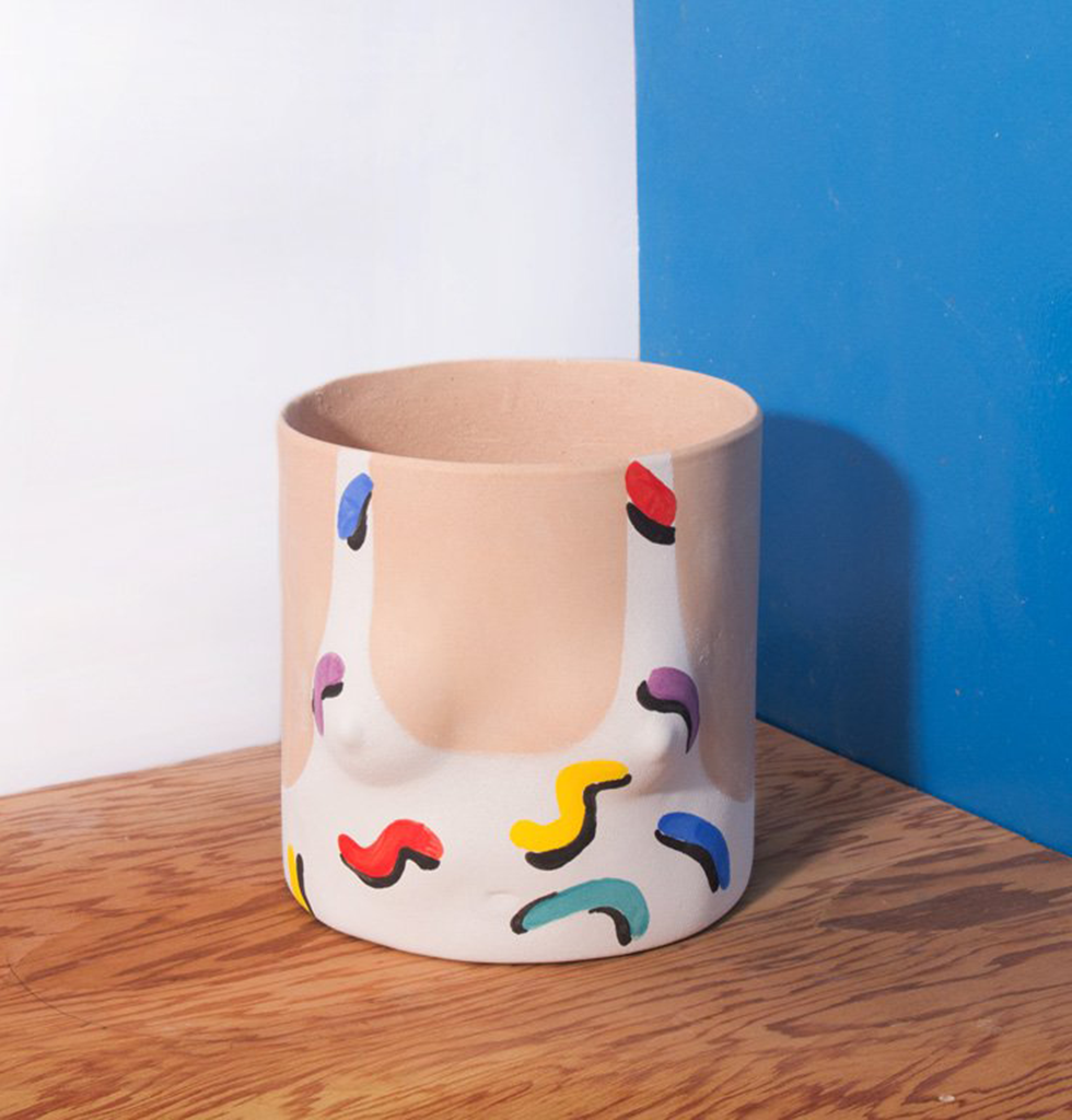 LIGHT SQUIGGLE SWIMSUIT GIRL PLANT POT