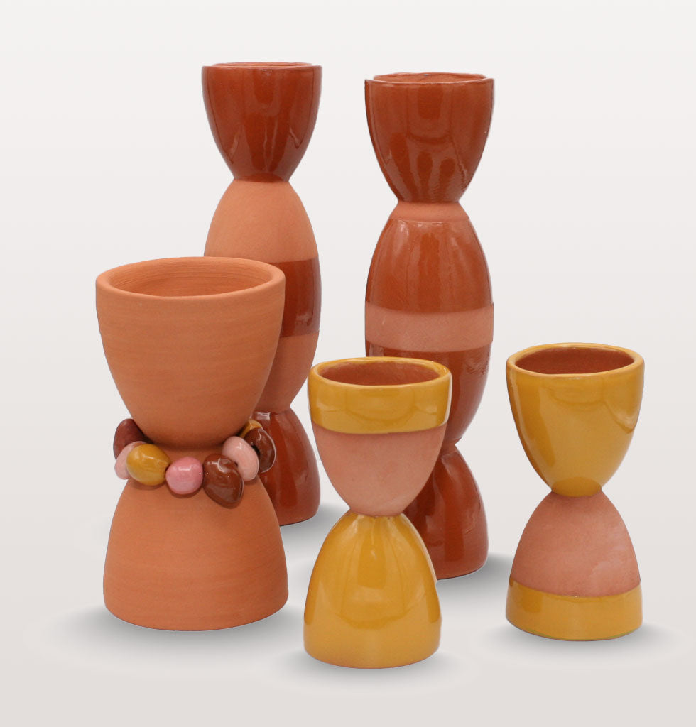 Group of totem candle holders by Tina Vaia available at wagreen.co.uk