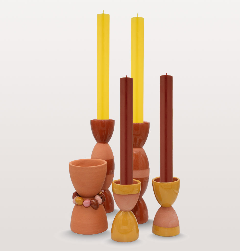 Group of totem candle holders and beaded incense burner. Designed by Tina Vaia and hand produced in Valencia. Exclusive and limited edition from wagreen.co.uk