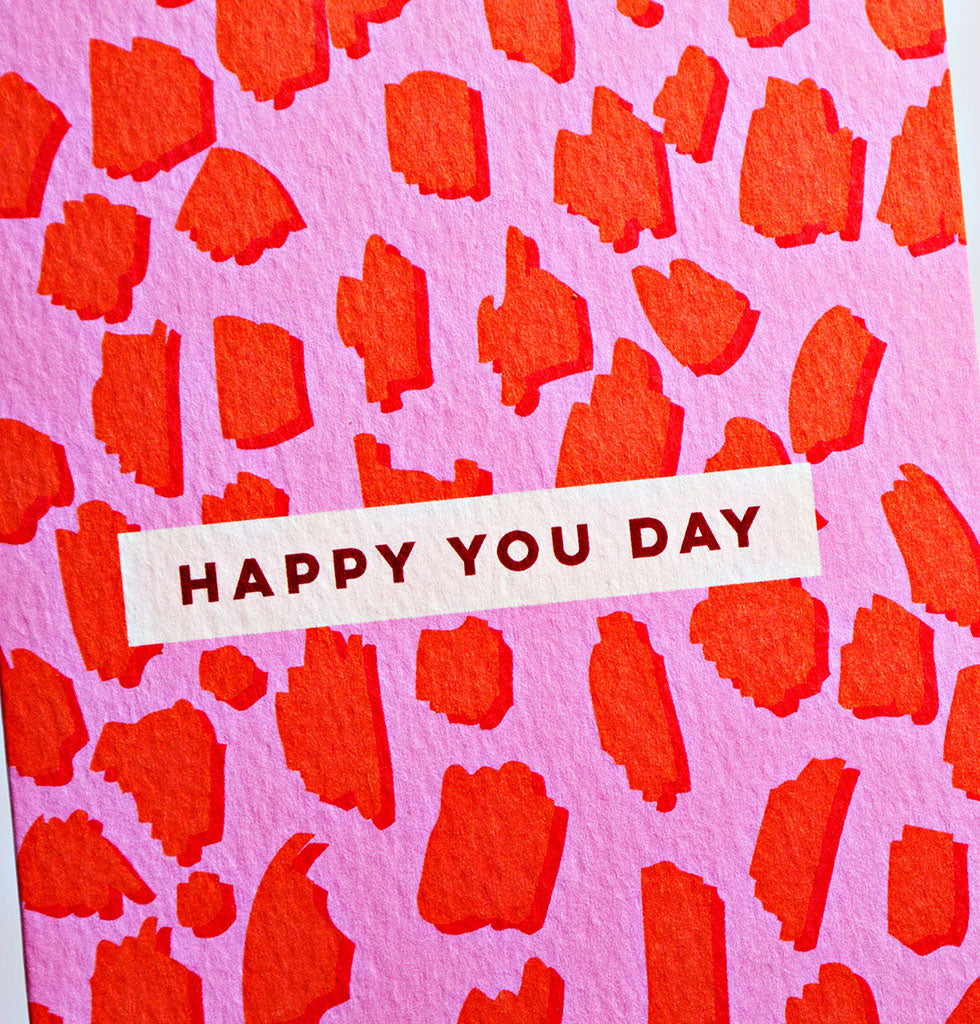 Happy You Day, Happy Birthday card in pink and red animal print